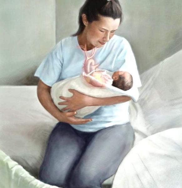 産褥婦の心臓イラスト The heart of Puerperal woman illustration