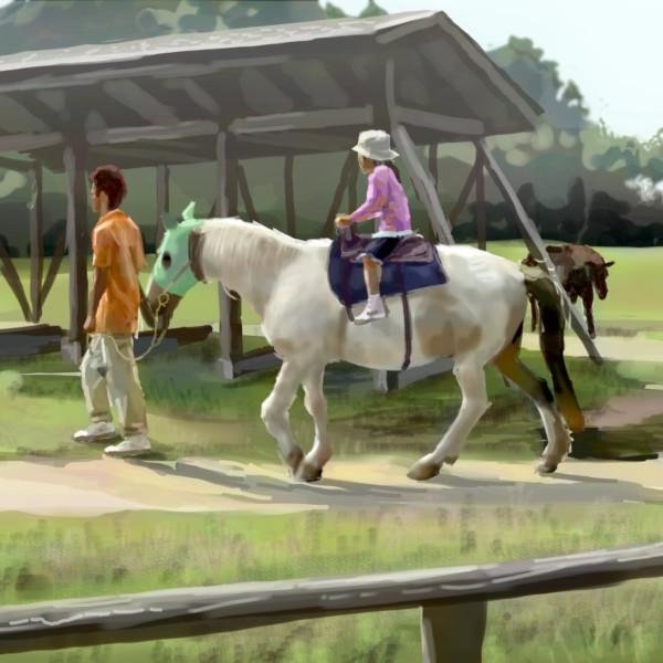 長女、初めて馬に乗る